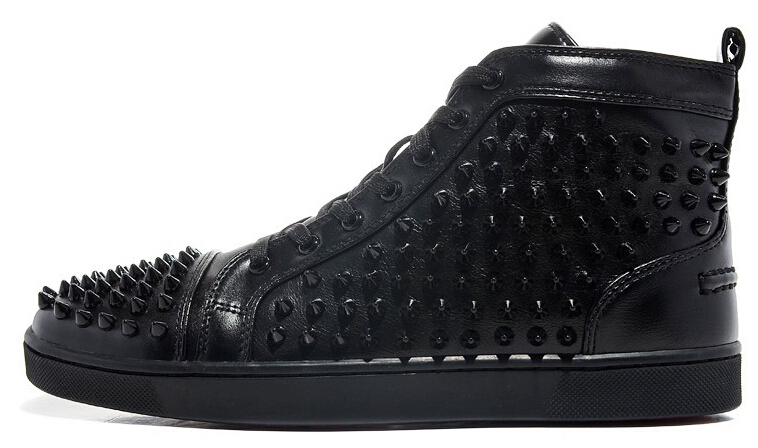 new s s black genuine leather shoes with spikes