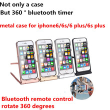 New case for iphone6/6s 4.7′ Aluminum bumper for iphone 6s plus 5.5′ With Wireless Bluetooth Remote Shutter Lazy people support