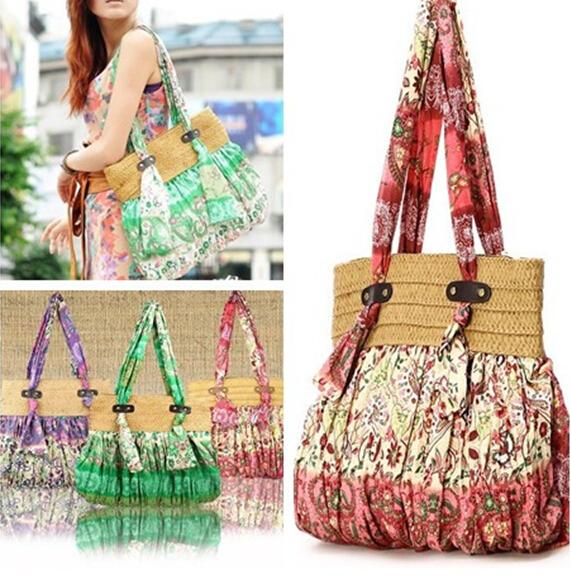 6 colors Bohemian Women handbag Straw Beach Bag tote Butterfly Women's Shoulder Bags Summer Bag sac a main bolsa feminina(China (Mainland))