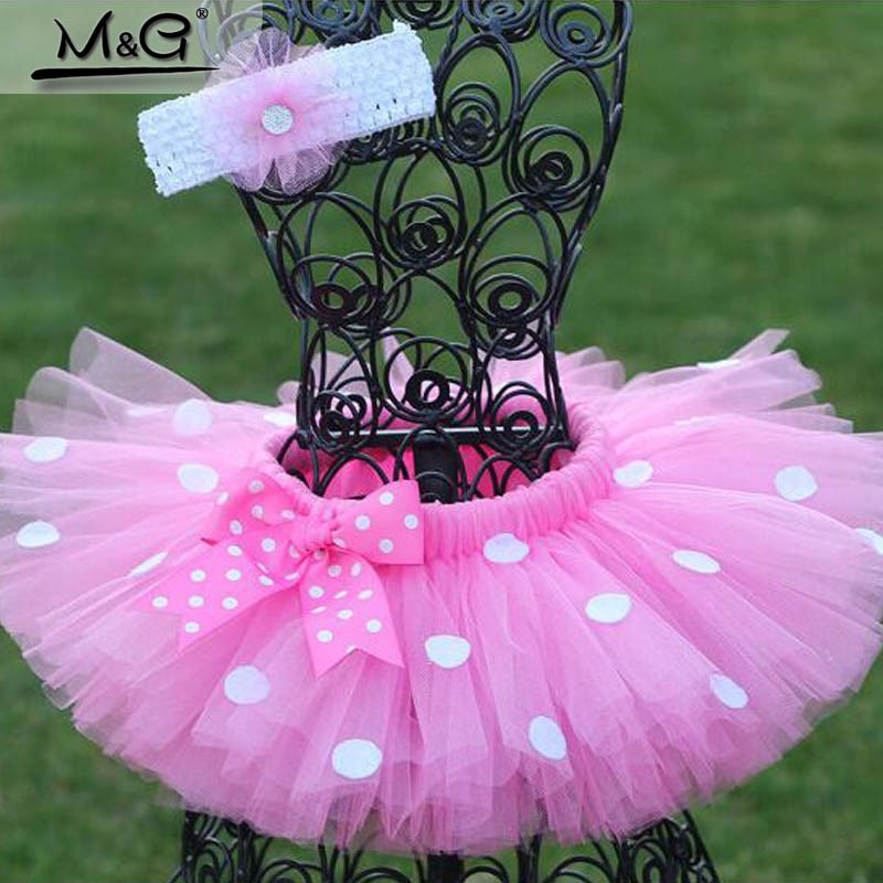 Pink-Or-Red-Bow-Tie-White-Dot-TuTu-Skirt-And-Flower-Headwear-Girls-clothes-Summer-2016