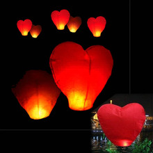 by dhl or ems 10000pcs red heart shape paper lanterns SKY LANTERNS wishing lanterns chinese paper lanterns(China (Mainland))