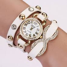 2015 New Arrial PU Leather Strap Women Watches Fashion Cross Love Bowknot Pattern women Dress Watch drill wristwatch XR475