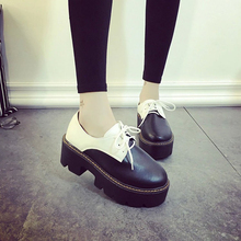 Fashion Lace-Up Creepers Flat Platform Shoes Women Loafers Shoes Leather Woman Designer Oxford Slip On Ladies Flat Shoes Black(China (Mainland))