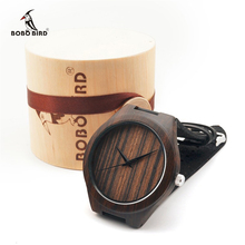 Natural Africa Black Wooden Wristwatch with Genuine Leather Band Men's Wood Wrist Watch Japan 2035 Move' Quartz Watches