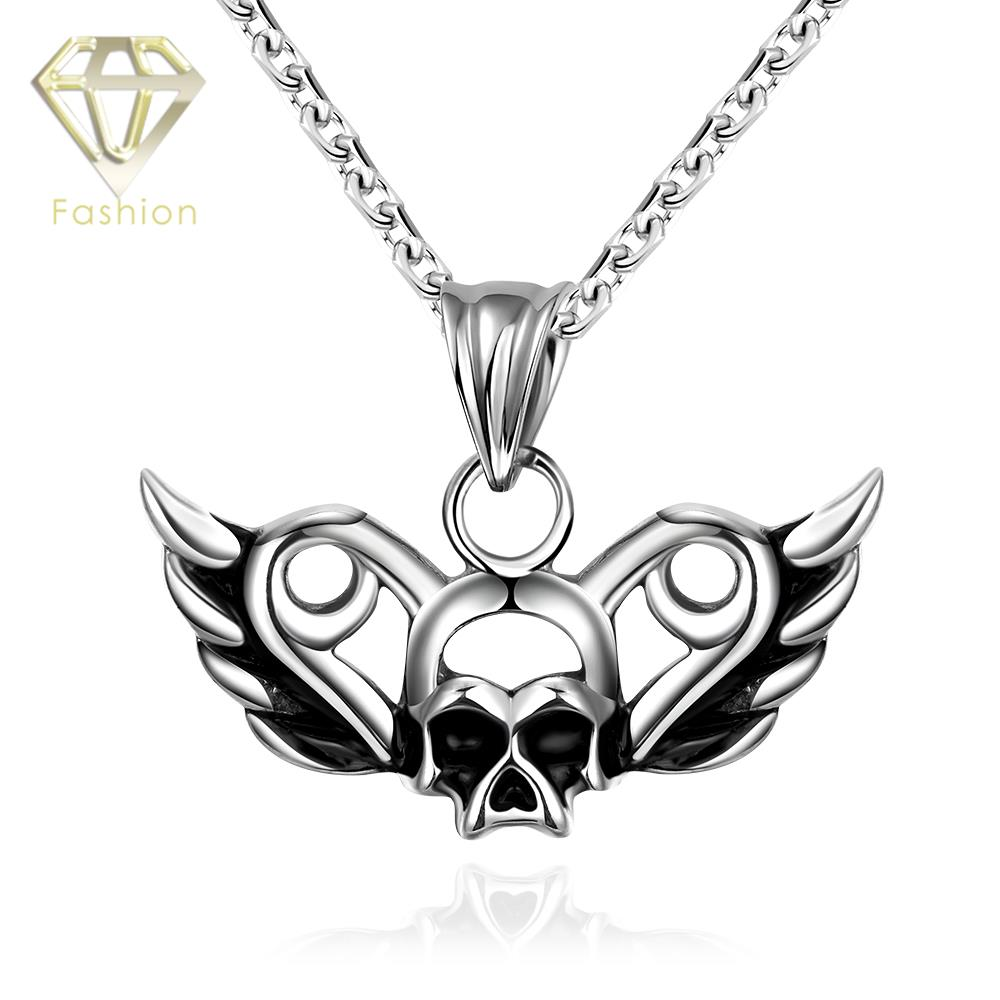 2016 Unique Punk Design 316L Stainless Steel Skull Angel Wings Pendant Necklace Unisex New Fashion Chain Jewelry Necklace(China (Mainland))