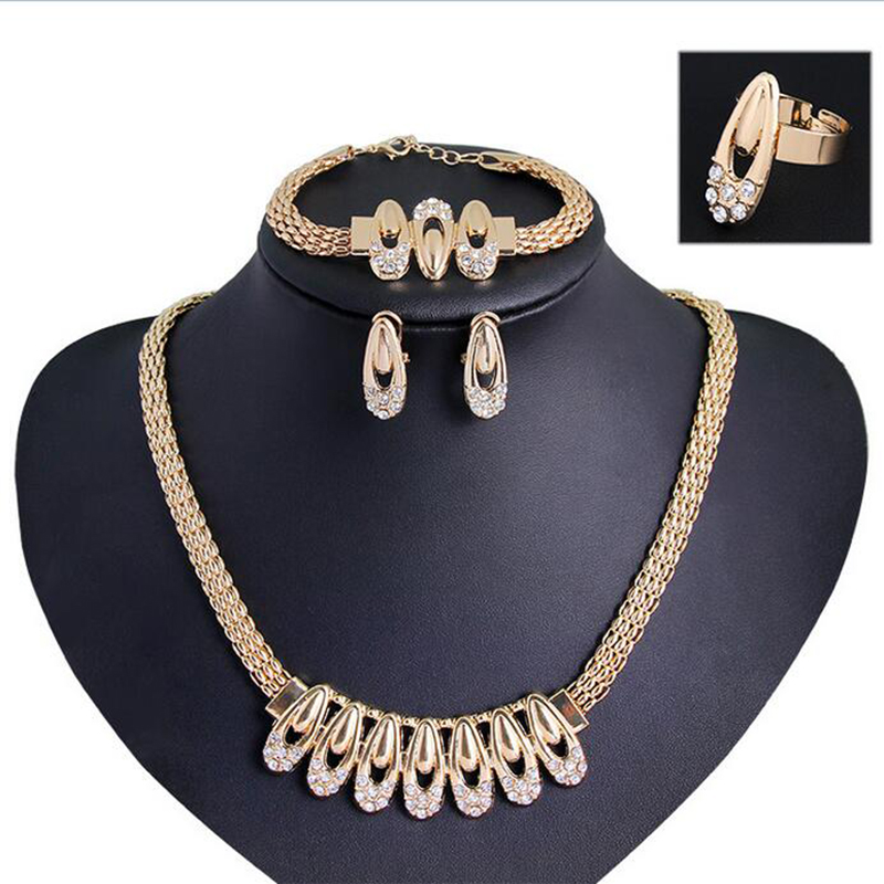jewelry sets fashion 18k gold plated women Austrian Crystal necklace earrings African wedding wholesale statement set jeweller(China (Mainland))