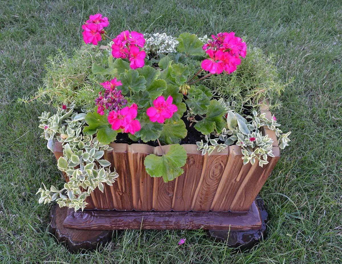 5 pieces set molds for concrete planter decorative flower for Garden decking ornaments