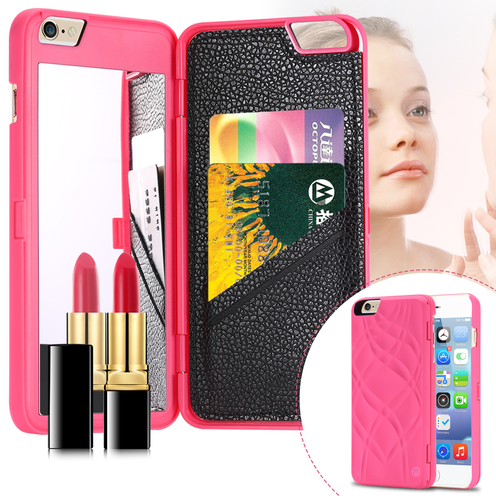 Fashion Lady Necessary 3D Water Flip PU Leather Case For Iphone 6 / Iphone 6 Plus Wallet Mirror Case Dual Layer Card Slot Cover(China (Mainland))
