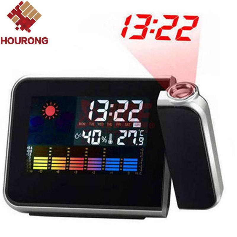 Home Digital Clock Novelty LCD Screen Calendar Display Weather Forecast Station Multi-Function Desktop Projector Alarm Clock(China (Mainland))