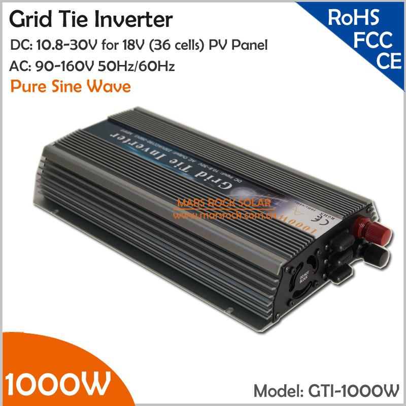 Colorful 1000W Grid Tie Inverter for 18V (36 cells) Solar Panels, 10.8-30V DC to AC 90-140V Wide Input Voltage On Grid Inverter(China (Mainland))