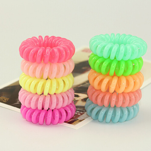 Women Headband 5 pcs Telephone Cord Elastic Ponytail Holders Hair Ring Scrunchies For Girl Rubber Band Tie(China (Mainland))