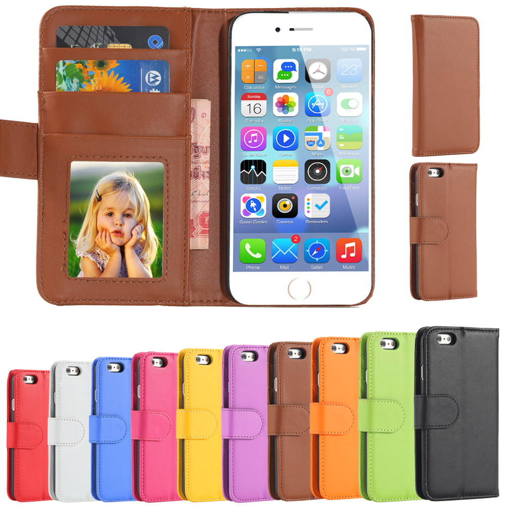 For i6 6s 4.7/Plus Fashion Wallet Flip PU Leather Case for Apple iPhone 6 6s 4.7 Plus 5.5 With Card Slot Photo Frame Stand Cover(China (Mainland))