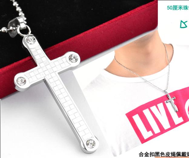 Silver classic Plaid Cross 316L Stainless Steel pendant necklaces men necklace jewelry wholesaleTING JEWELRY STORE(China (Mainland))