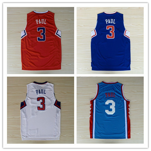 High Quality Los Angeles #3 Chris Paul Basketball Sports Jerseys Blue White Red Hot Sale Free Shippping!(China (Mainland))