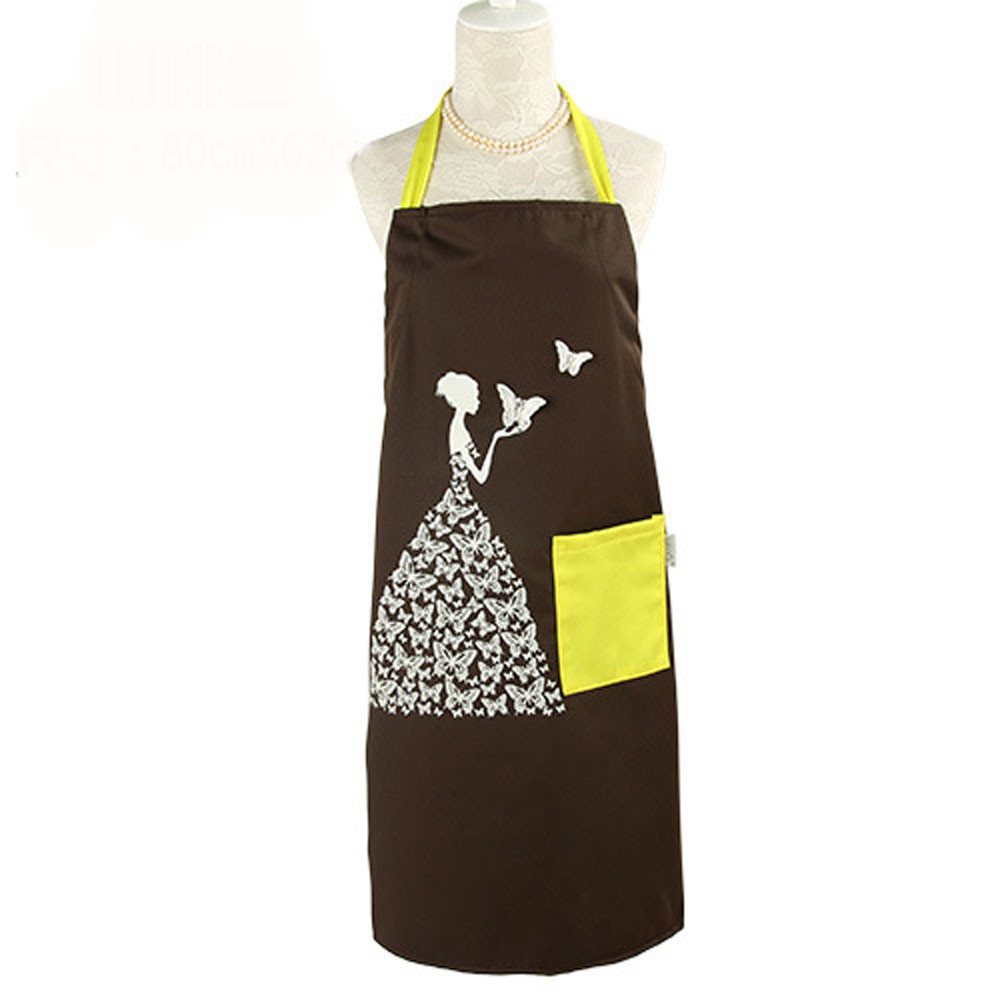 2015 New Arrival Creative Butterfly Girl Necessary Anti-fouling Prevent Dirty Kitchen Apron delantal cocina Smile(China (Mainland))