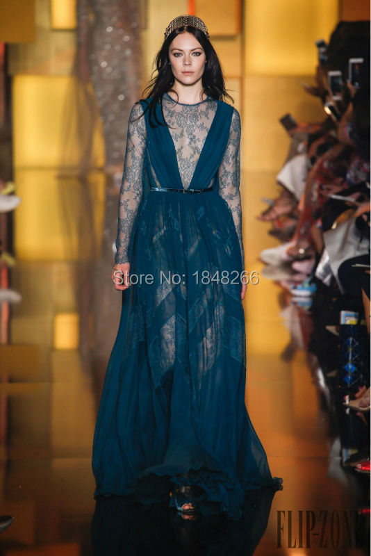 ph15875 deep green lace long sleeves gown elie saab fall winter 2016 emerald green evening dresses(China (Mainland))