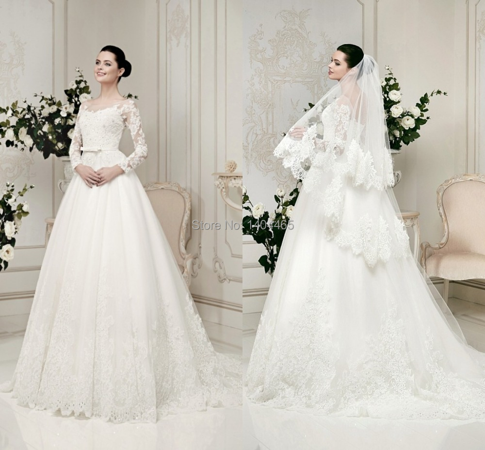 Top sale 2015 long sleeve wedding dresses with beautiful for Long sleeve wedding dress for sale