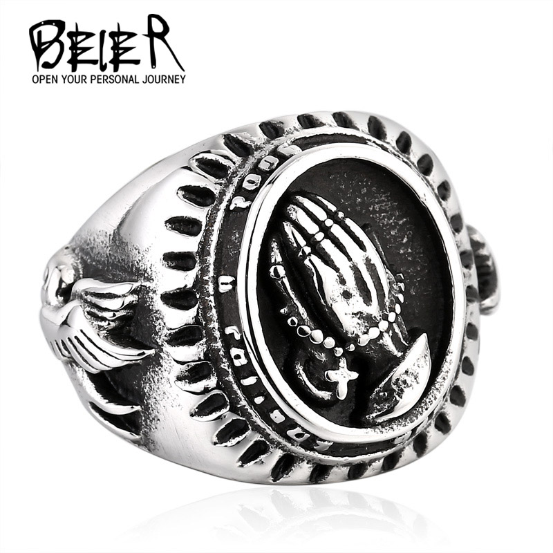 Hand of God ring Factory Price 316L Stainless Titanium Steel Bird of Peace Ring Jewelry Unique Man's Style BR8-267(China (Mainland))
