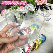 High Quality Ultra Thin Diamond mickey Drilling Frame Transparent TPU Soft Cover For iphone6 i6 6S 6plus 6Splus Phone Cases
