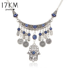 Buy 17KM Vintage Silver Color Statement Necklaces Women Fatima Evil Eye Hand Pendants Ethnic Jewelry Maxi Accessories for $2.59 in AliExpress store