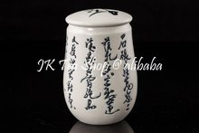 Chinese Calligraphy Porcelain Tea Canister, 100-200g(China (Mainland))