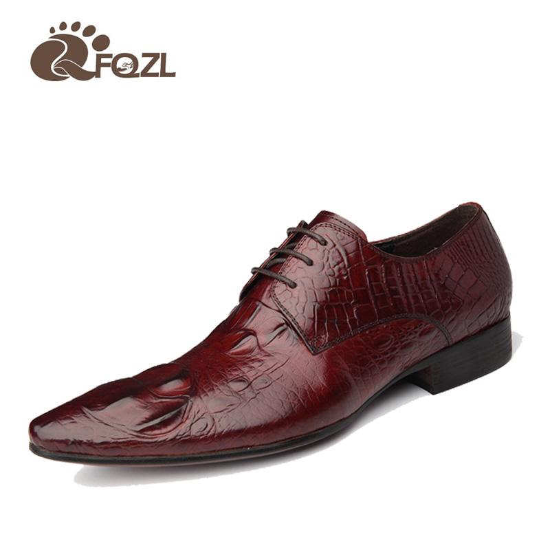 2016 fashion top brand crocodile mens dress shoes genuine