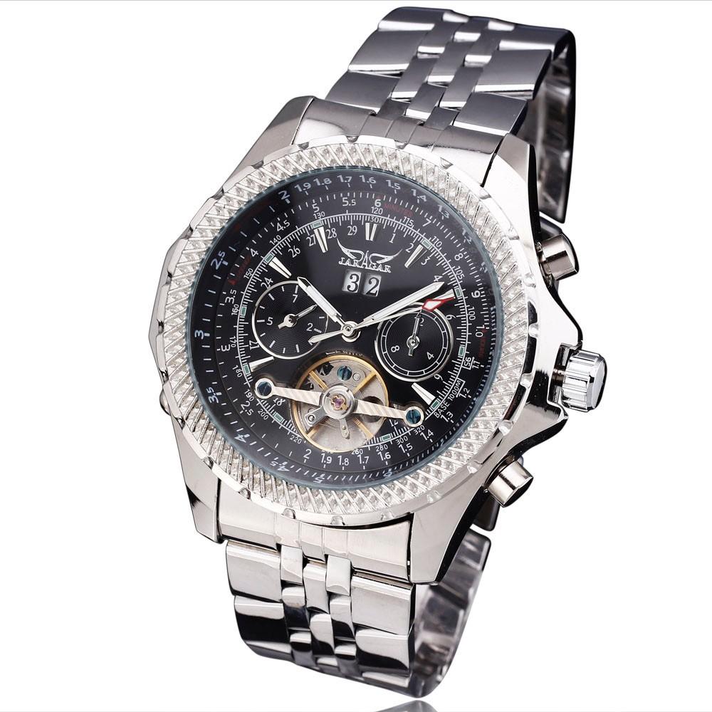 ПОБЕДИТЕЛЬ Мужчины Механические Часы Дата Турбийон Из Нержавеющей стали Ремешок Черный Циферблат Серебро Case11
