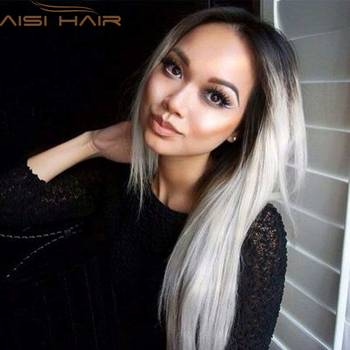 "Ombre Grey Wigs 26"" Women's Synthetic Wig Long Straight Hair Ombre Wigs For Black Women Heat Resistant Fiber Cheap Cosplay Wig"