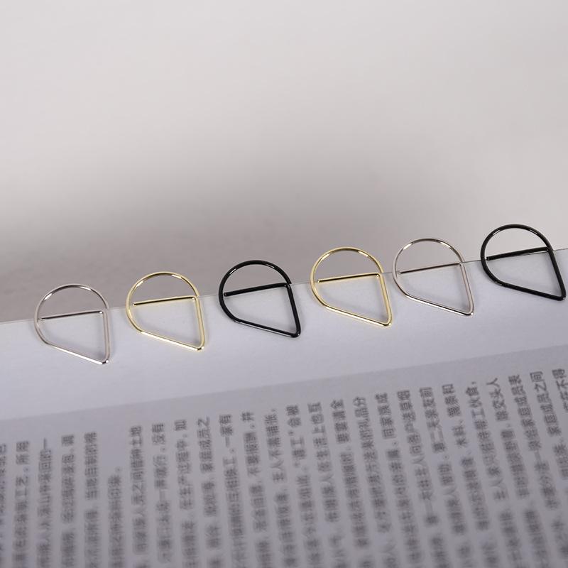 300 pcs/lot Brief Style Waterdrop Shaped Metal Paper Clip Bookmark Stationery School Office Supply Escolar Papelaria(China (Mainland))