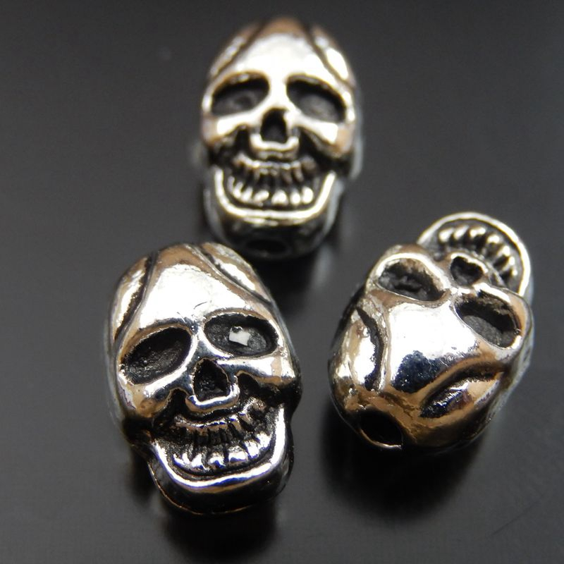 Alloy Antique Silver Retro Skull Head Charms Beads (39904) 20Pieces-Pack(China (Mainland))