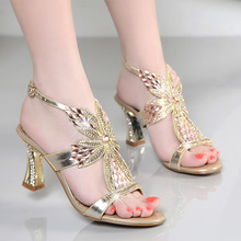2016 BELLE for sandals female rhinestone genuine leather diamond high-heeled shoes sexy thick heel shoes