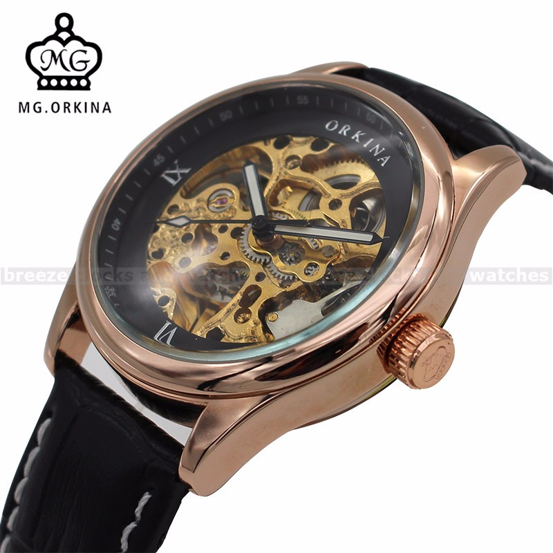 ORKINA Rose Gold Case Skeleton Watches Mens Top Brand Luxury Auto Mechanical Watch Male Wristwatches Erkek Kol Saati