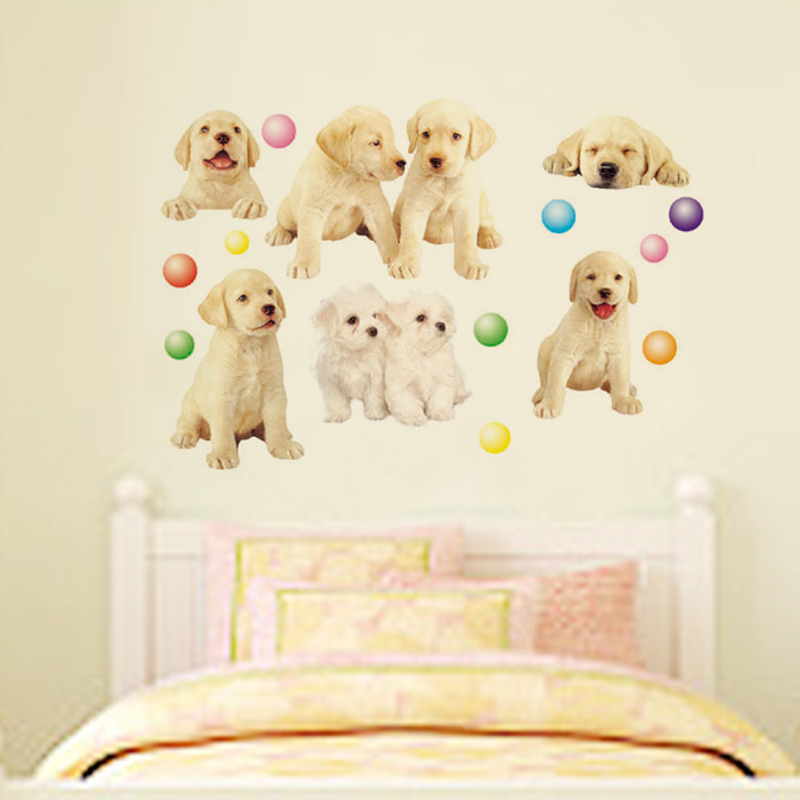 1pcs Pet Dog Art Wall Decor Sticker Vinyl Decals Baby Bedroom Nursery Lobby Home Accessories Wallpaper Poster adesivos de pared(China (Mainland))