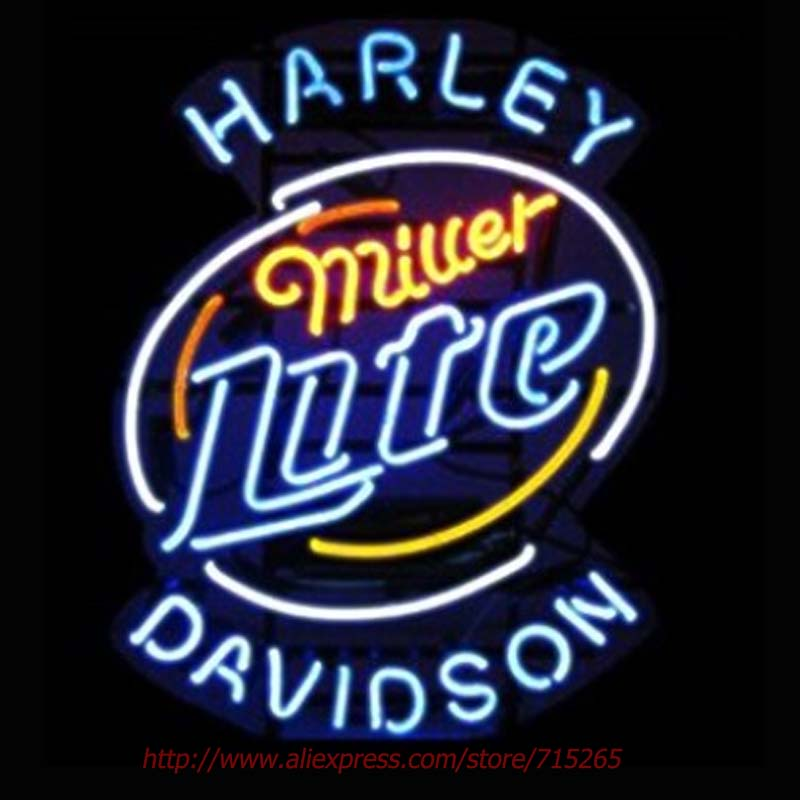 Miller Lite Neon Bulbs Harle David Neon Sign Real Glass Tube Handcrafted Shop Advertising Neon Lamp Bulb Indoor Motel Sign 24x31(China (Mainland))