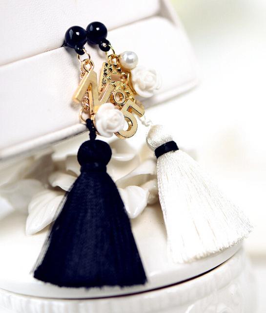 Классический черный и белый кисточкой длинные серьги для женщин ювелирные изделия оптовая продажа женский подарок