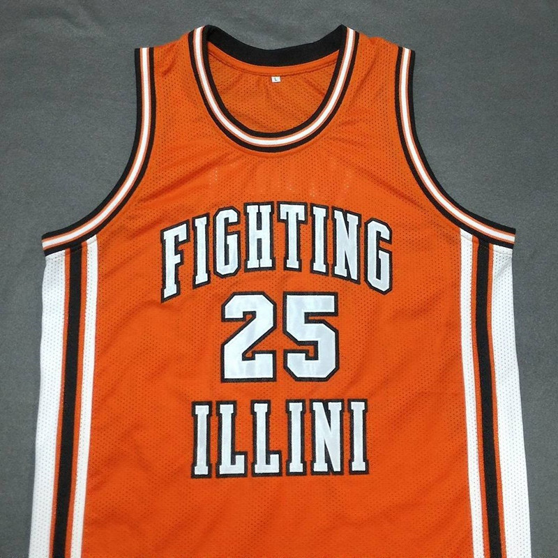 #25 DEON THOMAS Fighting Illinois College Orange Basketball Jerseys Embroidery Stitched Personalized Custom any size and name(China (Mainland))