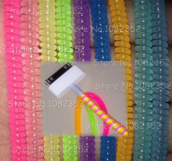 plastic spiral cord protector wrap cable winder holder for earphone wire USB charger wire organizer many color free shipping(China (Mainland))