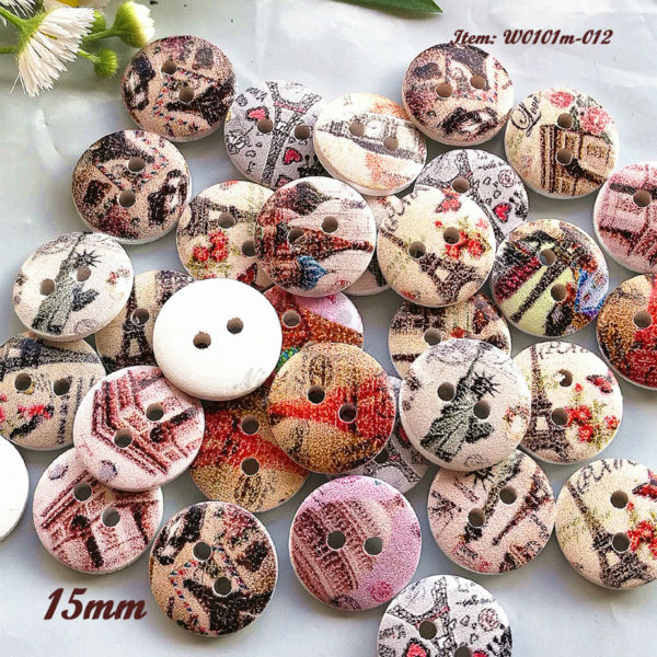 250pcs Multicolor 15mm Eiffel Tower series wooden craft buttons handicraft and art diy sewing craft accessories wholesale(China (Mainland))