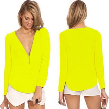 High-quality women Blouses & Shirts Fashion Solid chiffon Shirt deep v neck clothes sexy Blouses female Shirts WM058
