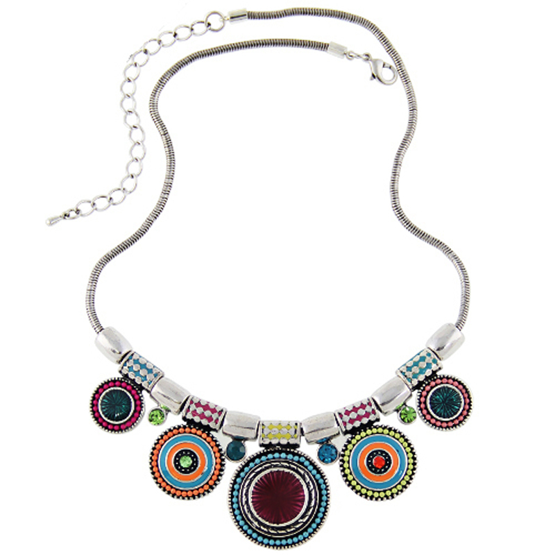 2016New Choker Necklace Fashion Ethnic Collares Vintage Silver Plated Colorful Bead Pendant Statement Necklace For Women Jewelry(China (Mainland))