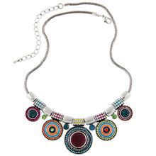 2015New Choker Necklace Fashion Ethnic Collares Vintage Silver Plated Colorful Bead Pendant Statement Necklace For Women Jewelry(China (Mainland))