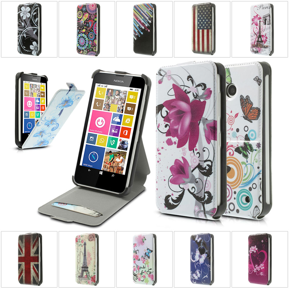 For Nokia Lumia 630 Case Colorful Pattern Vertical PU Leather Phone Bag Case Cover With Card Slot for Nokia Lumia 630/ Dual SIM(China (Mainland))