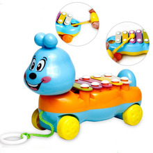 Baby Kids 5-Note Xylophone Cute Pull-Along Musical Development Colorful Toy Gift(China (Mainland))
