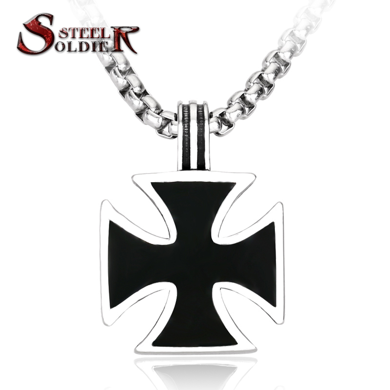 Steel soldier stainless steel iron cross pendant for men personaltiy classic pendant necklace BP8-115(China (Mainland))