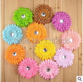NEW DIY polka dot gerbera peony Daisy flowers hair clip with Rhinestone for crochet headband hair styling Christmas Gifts 55pcs(China (Mainland))