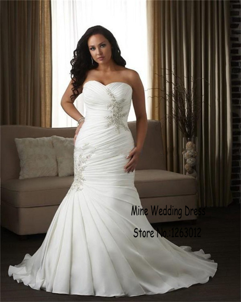 Mermaid Cryatl Bride Gown Plus Size Sweetheart Sexy Long Wedding Dress Bandag