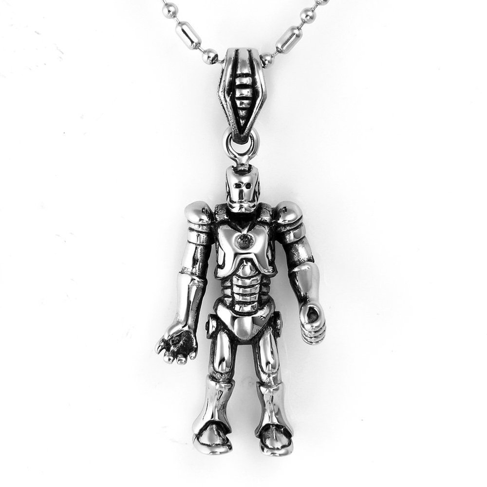 New Arrivals Punk Men Necklace Stainless Steel Iron Man Pendant Ironman Silver Jewelry hombre collares(China (Mainland))
