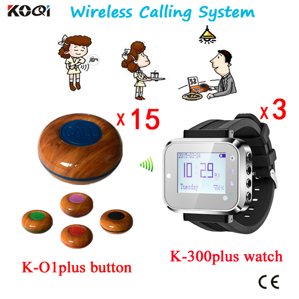 Restaurant Table Paging System 3pcs Watches+15pcs Button Pager Calling System(China (Mainland))