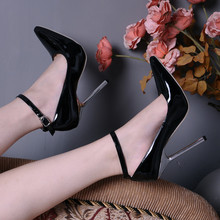 New Fashion Women Pumps Metal Plated High Heels Pointed Toe Ankle Strappy Sexy Ladies Party Wedding Dress Shoes Large Size 4-13
