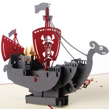 3D Pop Up Cards Handmade Pirate Ship Happy Birthday Christmas Halloween Gift Postcard(China (Mainland))